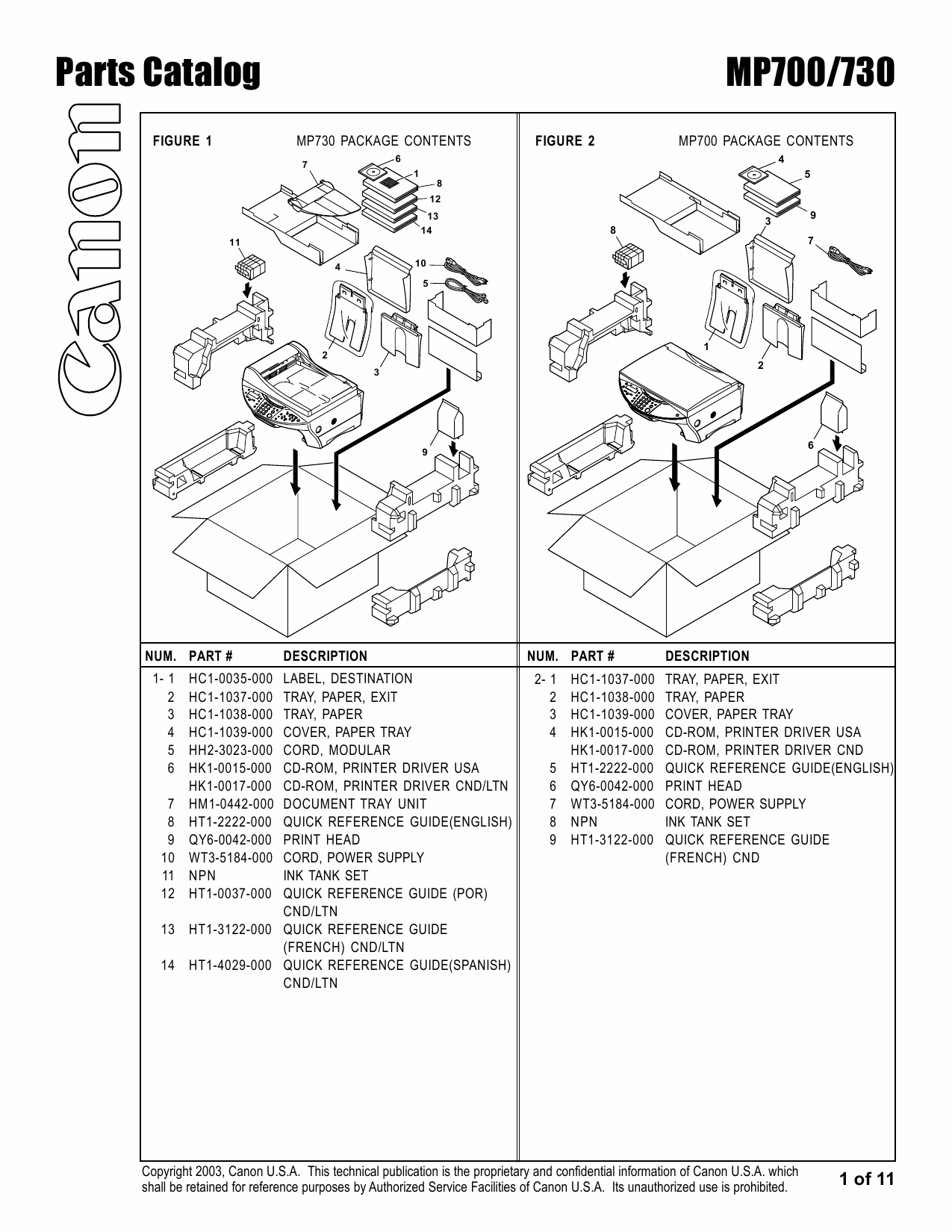 Canon PIXMA MP700 MP730 Parts Catalog Manual-2